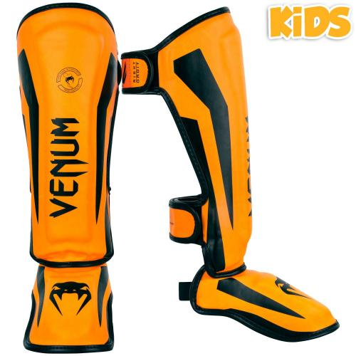 Khaki//Black Venum Elite Lightweight Hook and Loop Shin Guards