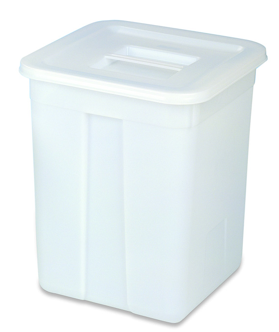 Squared bucket w/lid 60l white