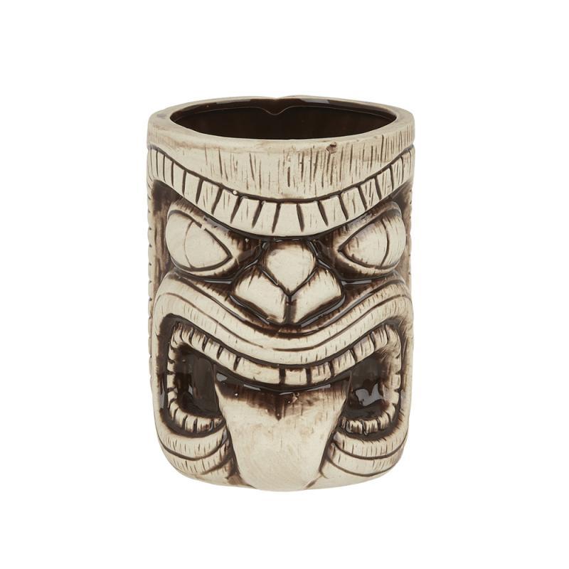 Ceramic Toscano Lono Tiki Mug 450ml - Light & Coffee Brown