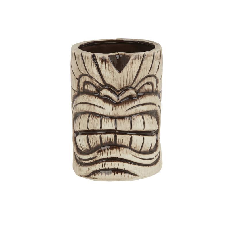 Ceramic Toscano Kanaloa Tiki Mug 450ml - Light/Coffee Brown