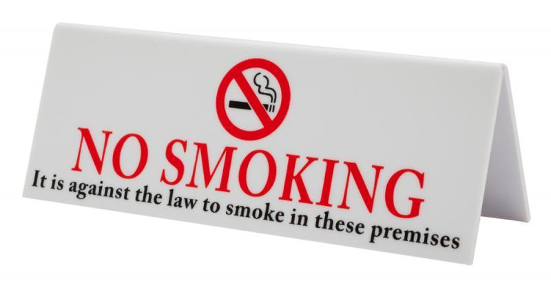 No Smoking Table Sign Plastic