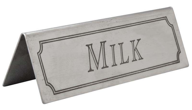Milk Table Sign Stainless Steel