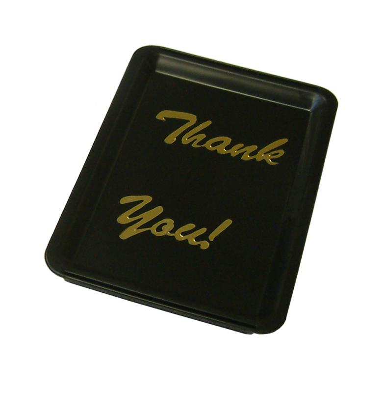 Black Plastic Tip Tray - Thank You