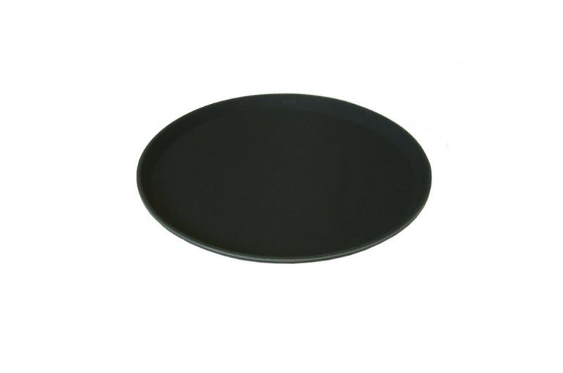 11 Inch Round Black Plastic Non Slip Tray