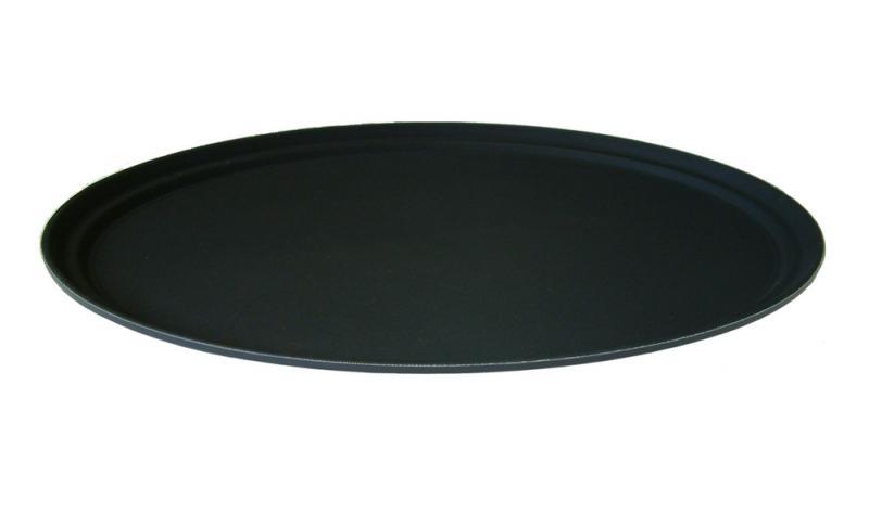 27 x 22 Inch Blk Plastic Oval Non Slip Tray