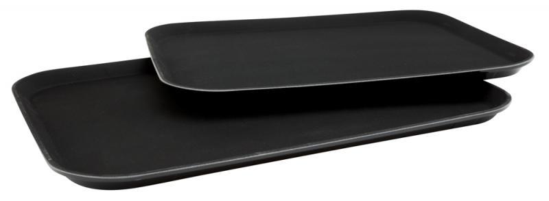 14 Inch x 18 Inch Black Plastic Non Slip Tray