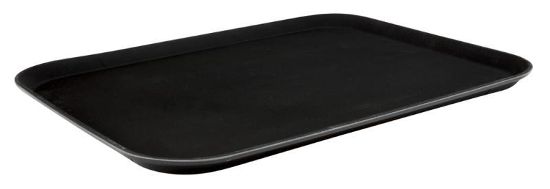 15 Inch x 20 Inch Black Plastic Non Slip Tray