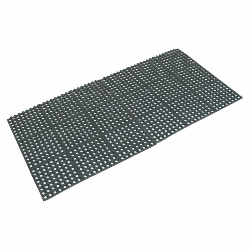 Rubber Floor Mat Black 90 x 90 x 1.2cm - Interlocking