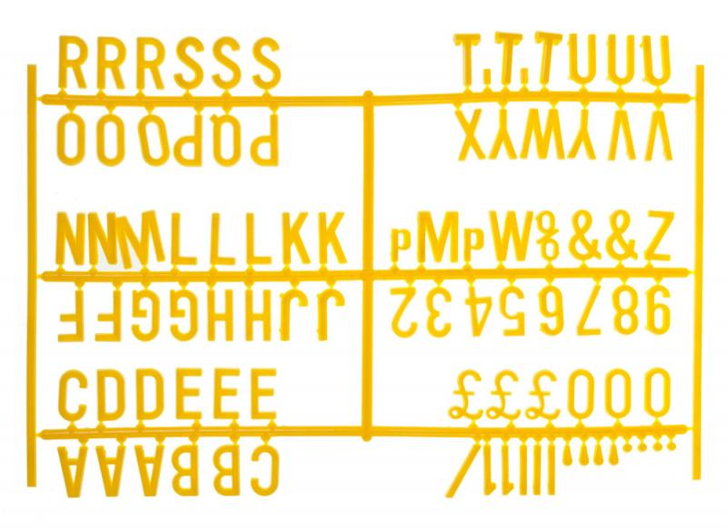 3/4 Inch Letter Set - (540 characters) Yellow