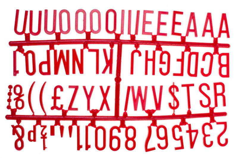 1 1/4 Inch Letter Set - (390 characters) Red