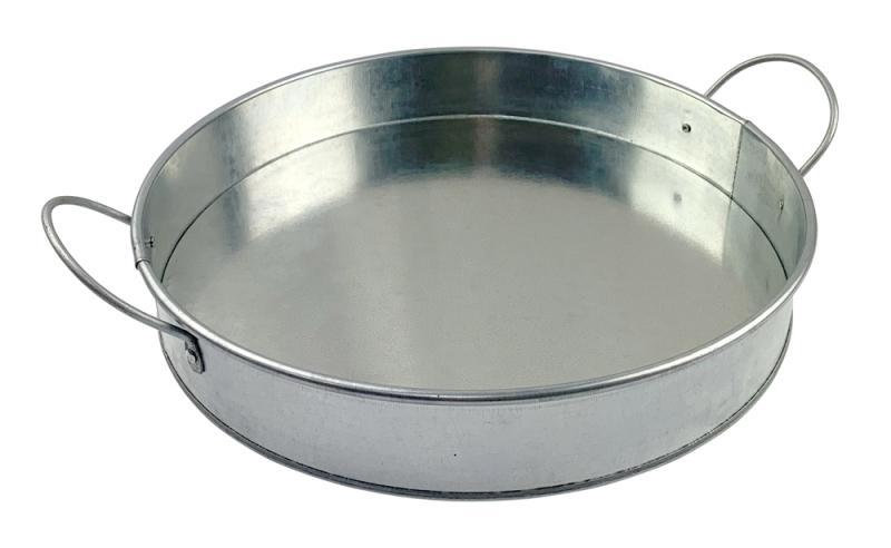 12 Inch Serving Platter - Round - Galvanised Tin
