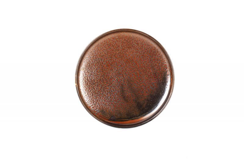 Plate 20cm round dark brown Escura