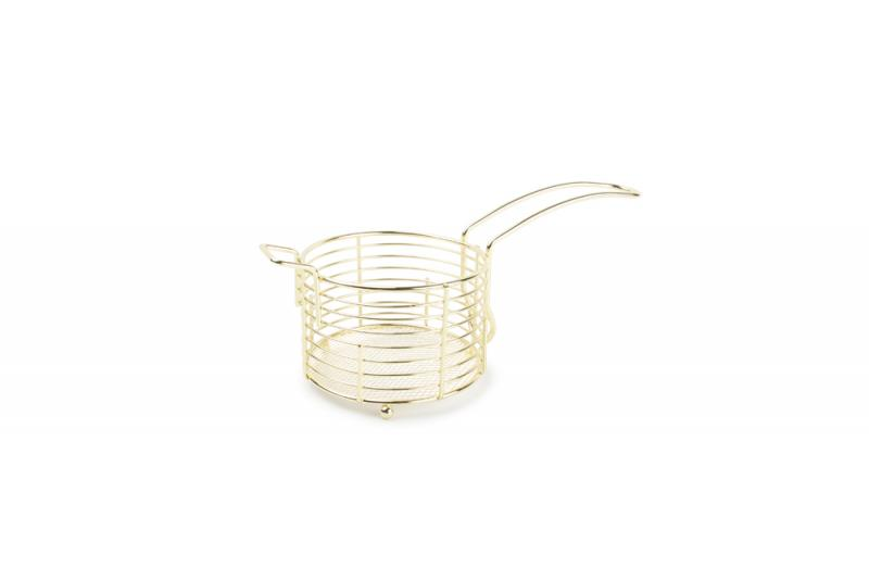 French fries basket 11xH7.5cm rnd metal wire gold 1
