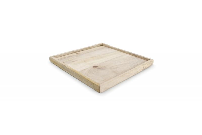 Serving tray with rim 25x25xH2cm wood Essential 1