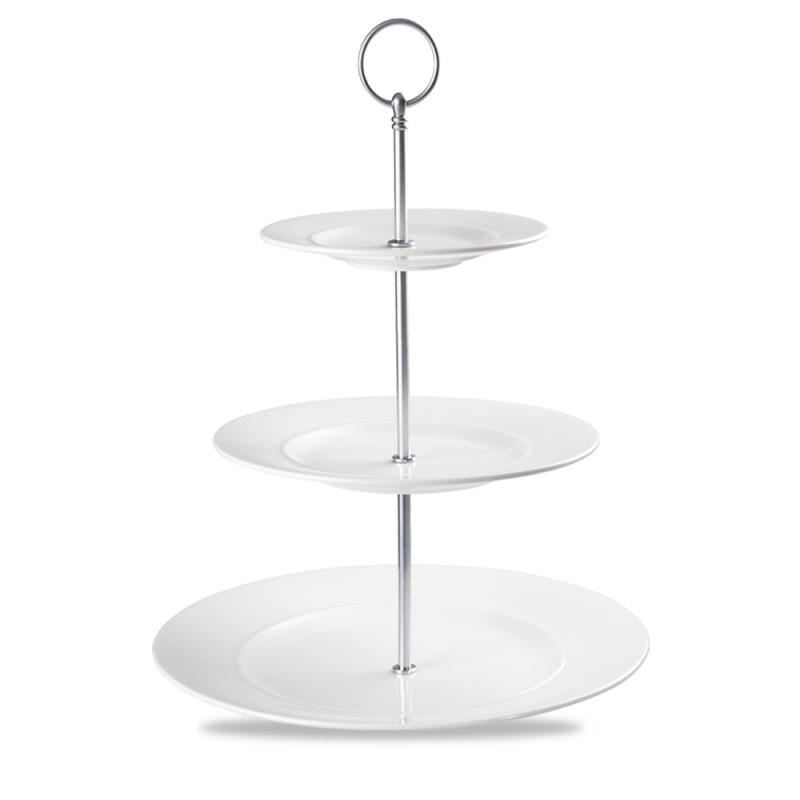 "Alc Ambience White Standard Rim 3 Tier Plate Tower 11"" Box 2"