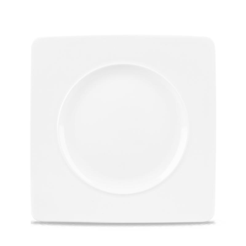 "Alc Ambience White Medium Rim Square Plate 8.25"" Box 6"