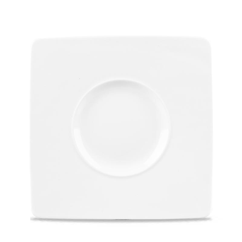 "Alc Ambience White Wide Rim Square Plate 8.25"" Box 6"