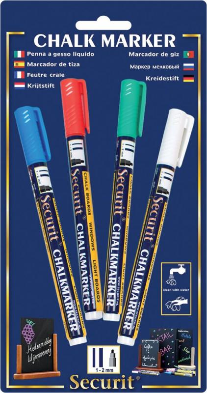 Securit® Liquid chalkmarker coloured - 1-2mm Nib - blue, red, green, white - Set of 4