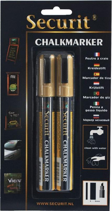 Securit® Liquid chalkmarker gold set of 2 - medium 2 -6mm Nib - Blister card