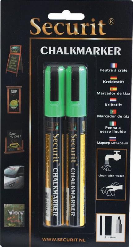 Securit® Liquid chalkmarker green set of 2 - medium 2-6mm Nib - Blister card