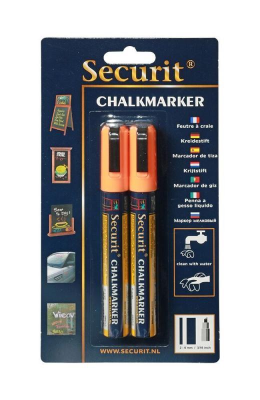Securit® Liquid chalkmarker orange set of 2,medium 2-6mm Nib - Blister card