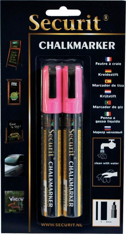 Securit® Liquid chalkmarker pink set of 2 - medium 2-6mm Nib - Blister card