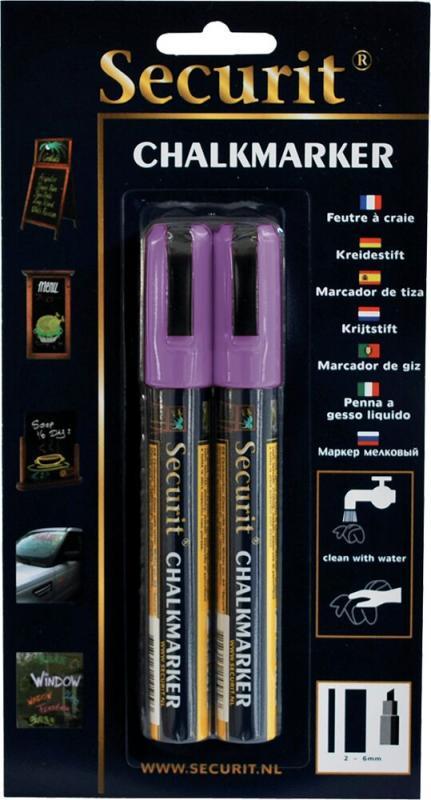 Securit® Liquid chalkmarker Violet set of 2 - medium 2-6mm Nib - Blister card