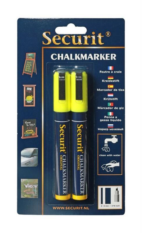 Securit® Liquid chalkmarker blue set of 2 - medium 2-6mm Nib - Blister card