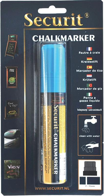 Securit® Liquid chalkmarker blue - large 7-15mm Nib - Blister card