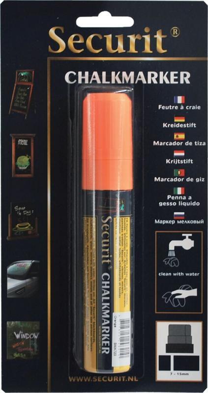 Securit® Liquid chalkmarker orange - large 7-15mm Nib - Blister card