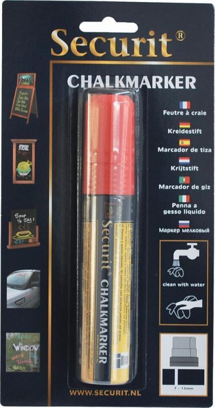 Securit® Liquid chalkmarker red - large 7-15mm Nib - Blister card
