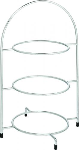 "Chrome 3 Tier Cake Plate Stand 16.5"" (42cm) - to hold 3 x 23cm Plates - 1"