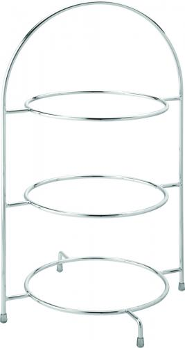 "Chrome 3 Tier Cake Plate Stand 17"" (43cm) - to hold 3 x 25cm Plates - 1"