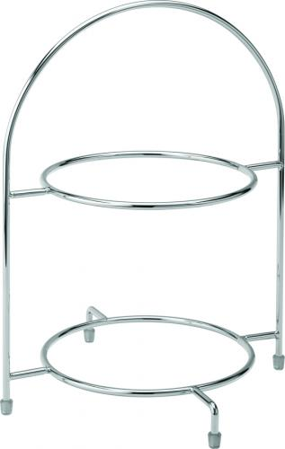 "Chrome 2 Tier Cake Plate Stand 12.5"" (32cm) - to hold 2 x 23cm Plates"
