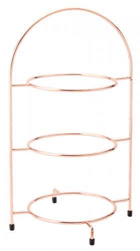 "Copper 3 Tier Plate Stand 16.5"" (42cm) - to hold 3 x 23cm Plates"