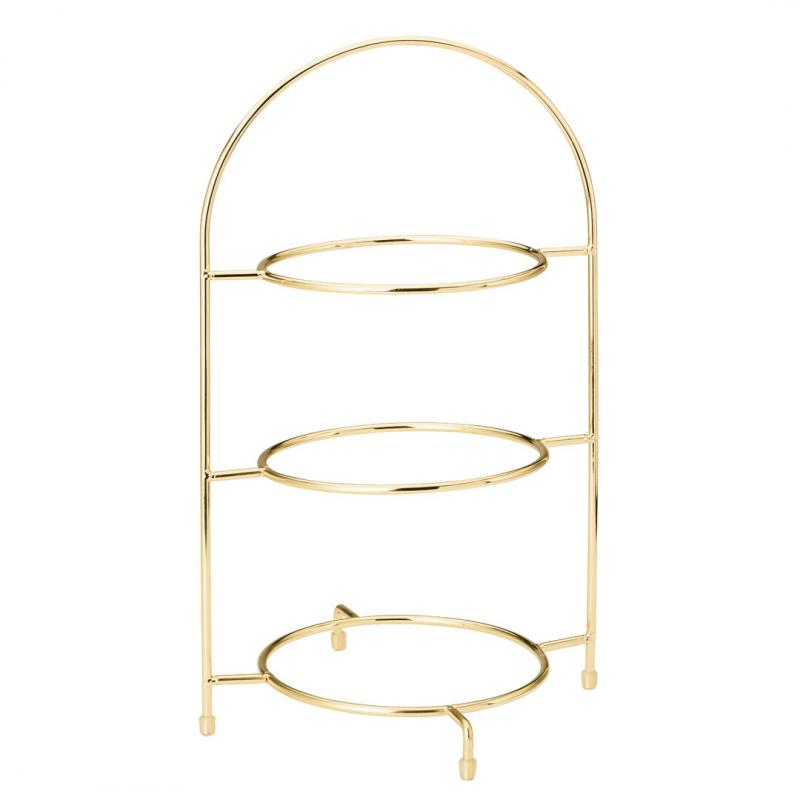 """Gold 3 Tier Cake Plate Stand 16.5"""" (42cm)"""