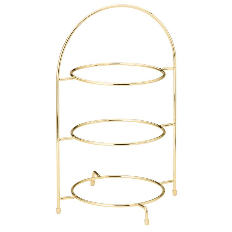 """Gold 3 Tier Cake Plate Stand 17"""" (43cm)"""