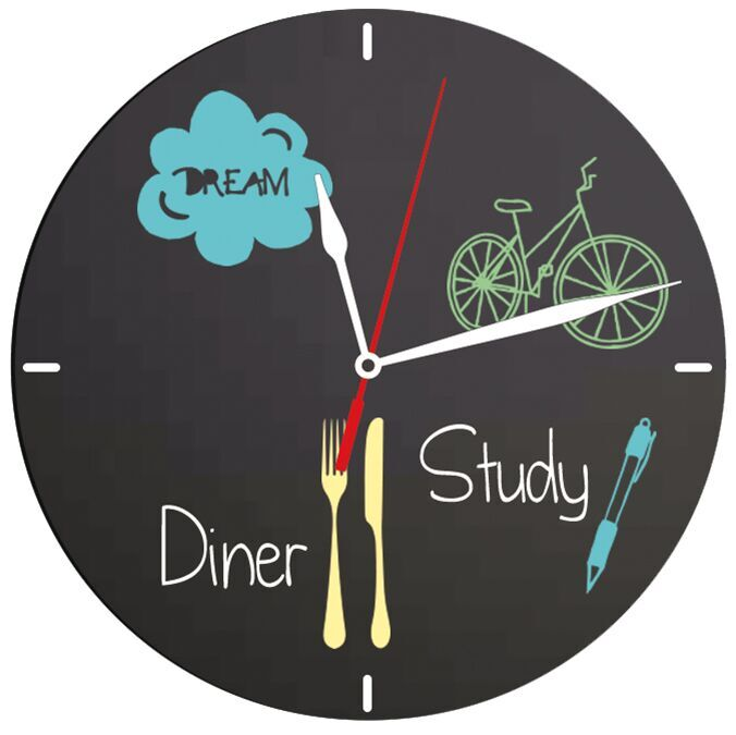 Clock chalkboard,incl. chalkmarker and wall vel...