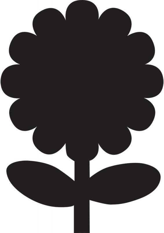 Securit® Silhouette flower chalkboard - including chalkmarker and self adhesive mounting strips
