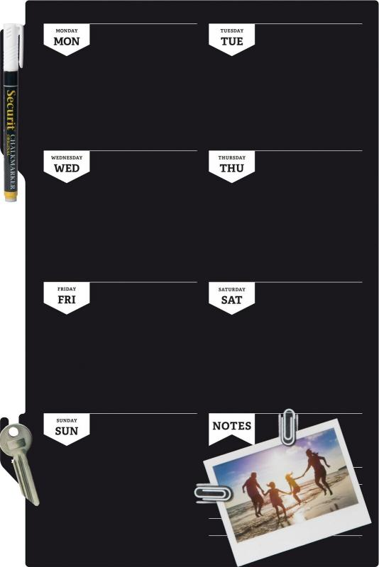 Securit® Silhouette week planner chalkboard - including chalkmarker and self adhesive mounting strips