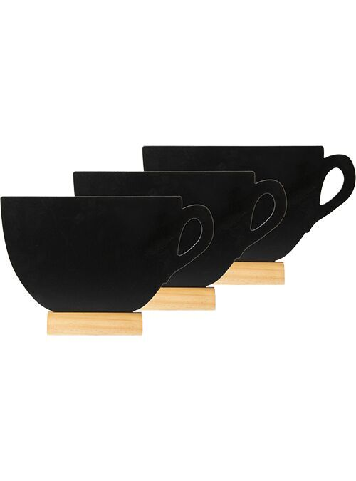 Securit® Silhouette cup mini chalkboards, including chalkmarker - Wooden base - set of 3