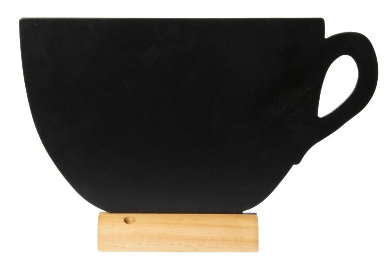 Securit® Silhouette cup chalkboard, including chalkmarker - Wooden base