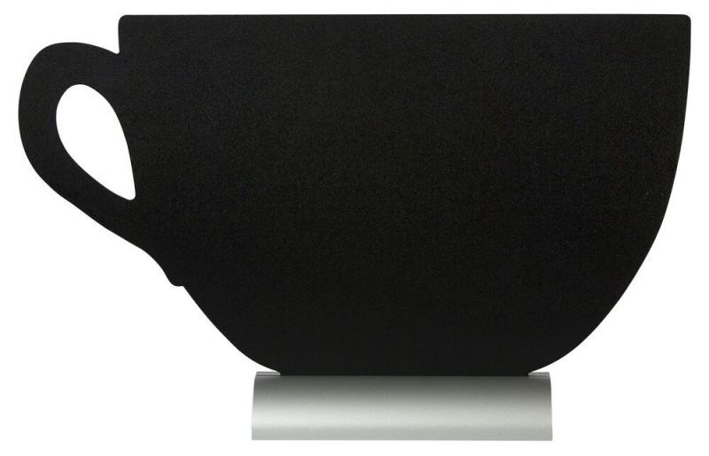 Securit® Silhouette cup table chalkboard, including chalkmarker - Aluminium base