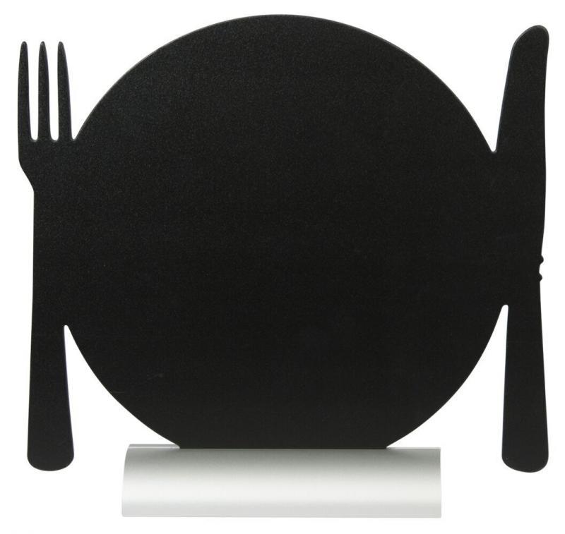 Securit® Silhouette plate table chalkboard, including chalkmarker - Aluminium base