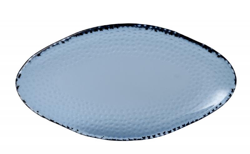 "Isla Organic Glass Trace Oval Platter 11 3/4X6 3/8"" Box 6"
