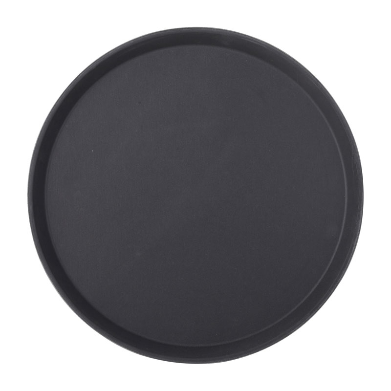 "Black Non Slip Tray Round 16"" (40.5cm)12"