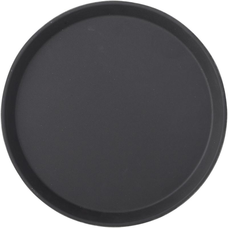 "Black Non Slip Tray Round 11"" (28cm)12"