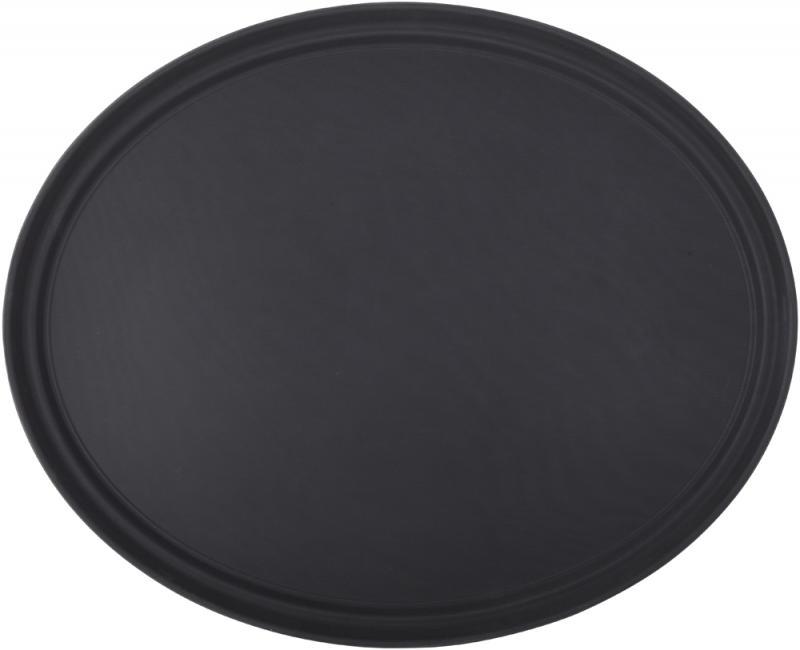 """Black Non Slip Tray Oval 27 x 22"""" (68.5 x 56.5cm)-6"""