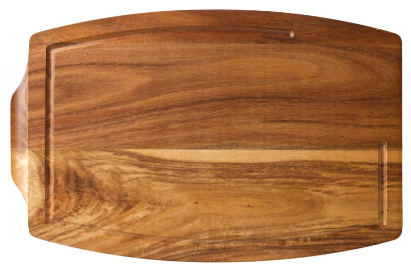 "Acacia Wood Steak Platter 13.5x8.75"" (34x22cm) - Sides: With Juice Catcher / Plain"