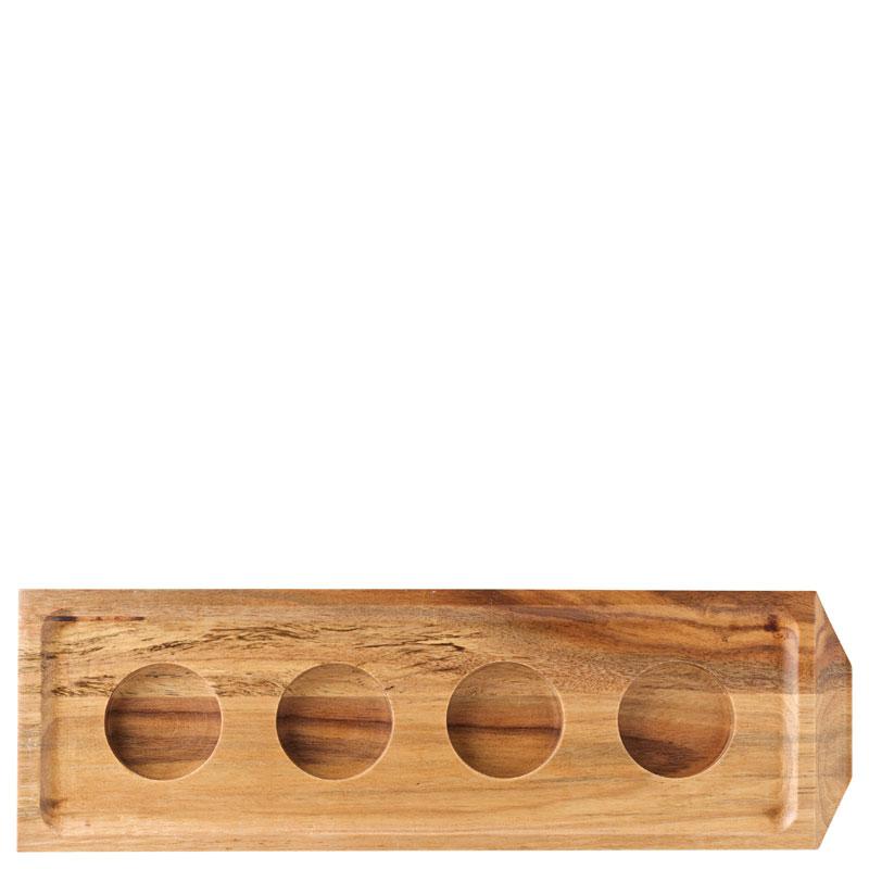 "Acacia Chocolate/Shot Flight 11 x 3.5"" (28 x 9cm) - with 4 indents"